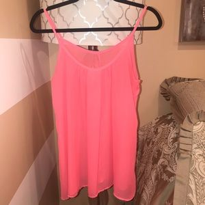 Tops - Bright Pink Spaghetti Strap Flowy Top